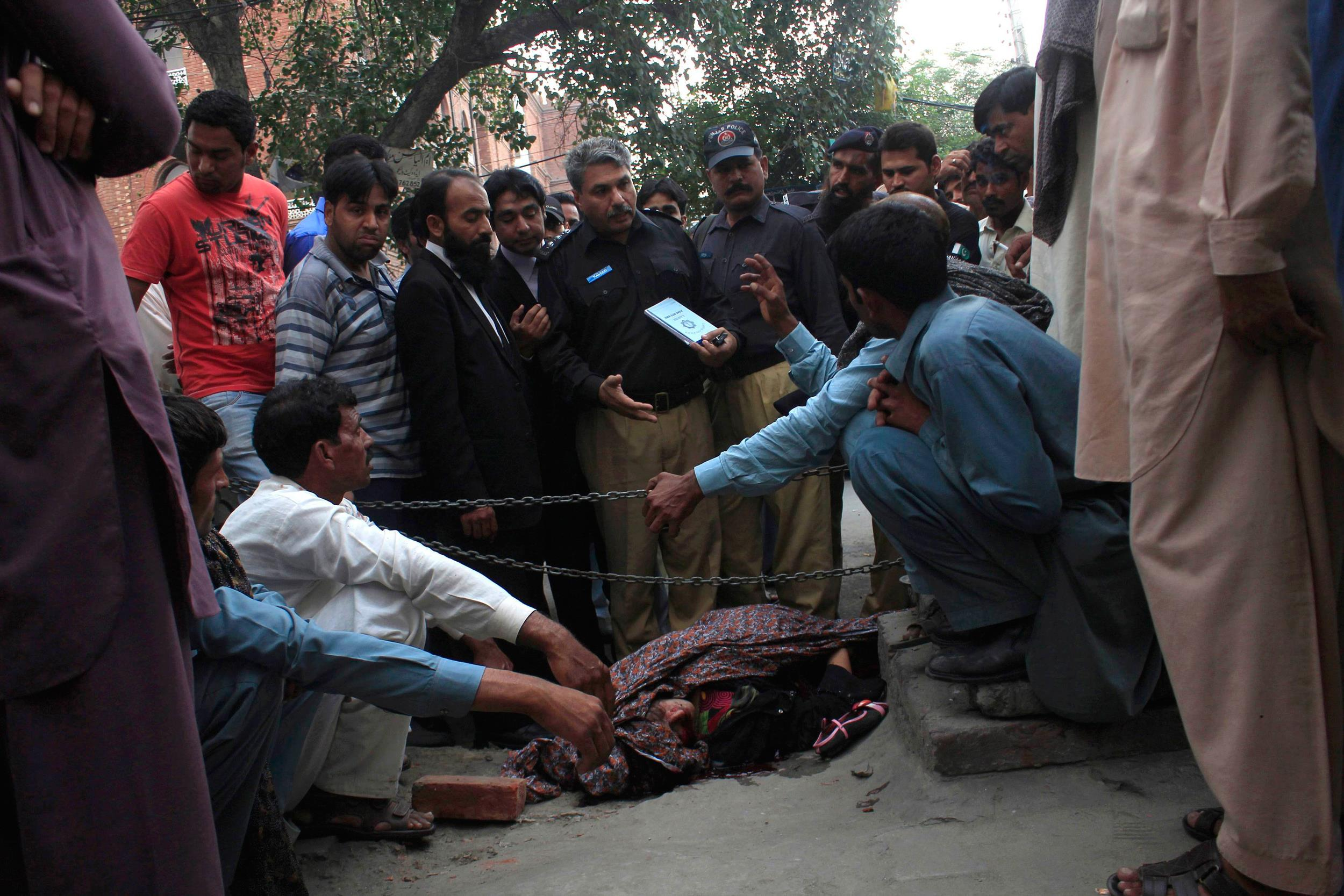 Farzana Parveen was murdered with bricks by relatives outside court in Lahore, Pakistan
