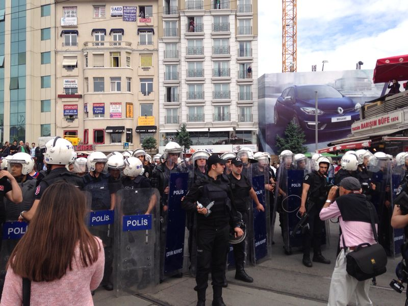 Taksim Square anniversary protests, May 31st 2014, at which protesters were barred from entering the square