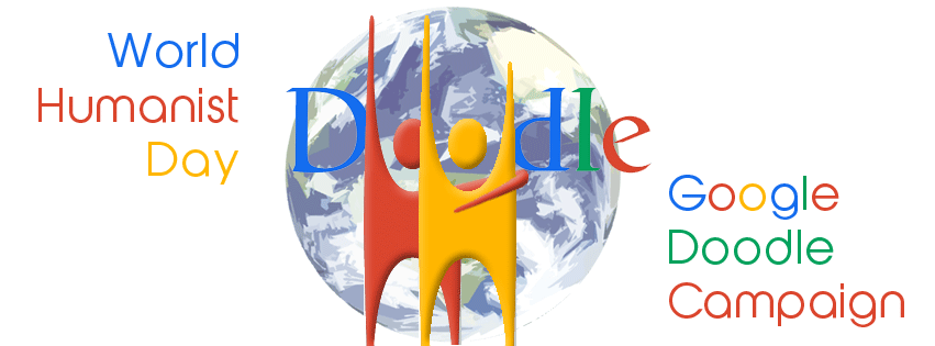 A concept mock-up for a prospective World Humanist Day Google Doodle - not (yet!) endorsed by Google