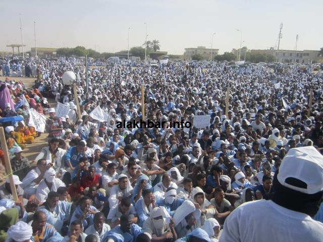A crowd at one of various protests calling for Cheikh Ould M'Khaitir's death in 2014