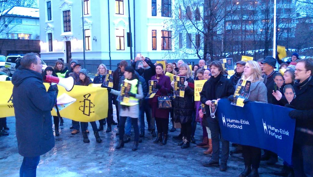 Norwegian Humanists and Amnesty protest at the Saudi Arabian embassy in Oslo, Friday 16 January 2015