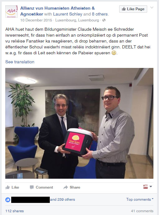 "Facebook post: ""AHA has today given a document shredder to the Education Minister Claude, so that he can more easily manage the deluge of post from religious fanatics, who continue to insist that religious indoctrination should be perpetuated in public schools. Please share this post, so that people don't continue to waste paper."""