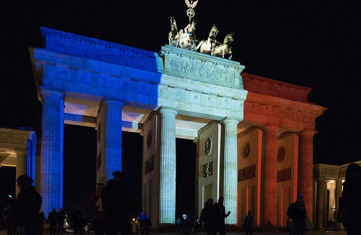 Brandenburg Gate, Germany, lit in colours of French flag