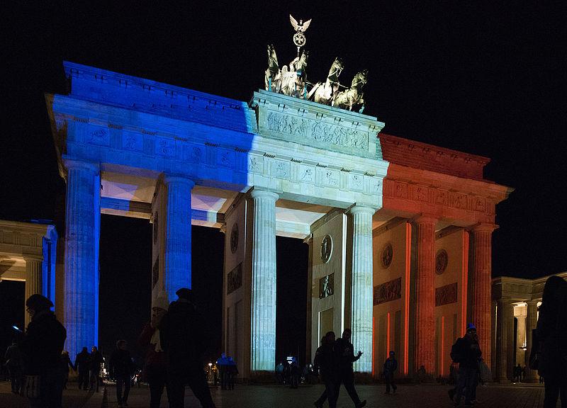 Brandenburg Gate, Germany, lit in colours of French flag