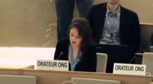 IHEU Director of Advocacy, Elizabeth O'Casey, speaking at UN