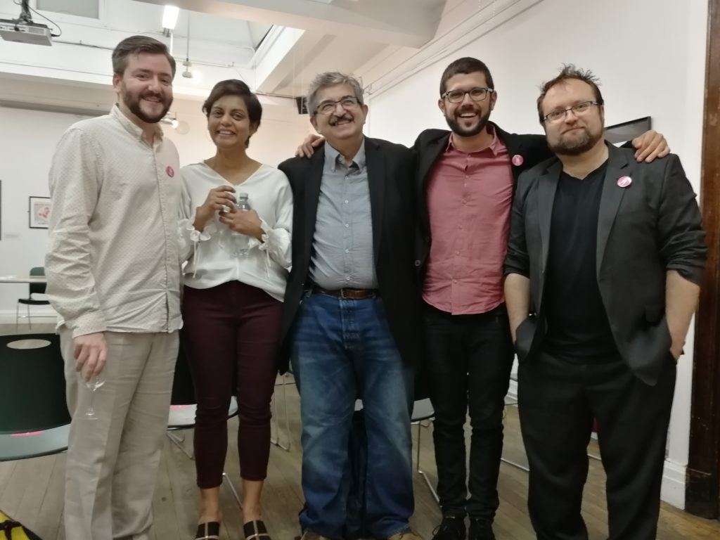 (Left to right:) Andrew Copson, Bonya Ahmed, Salil Tripathi, and Humanists International's Giovanni Gaetani and Bob Churchill