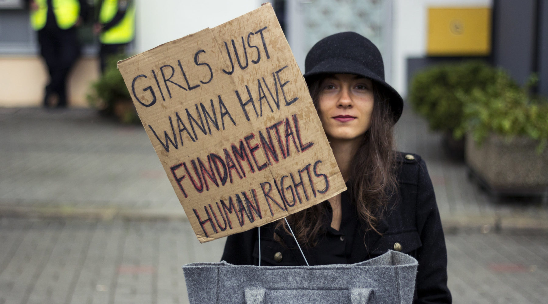 """Girls just wanna have fundamental human rights"" sign at protest against anti-abortion laws in Poland"